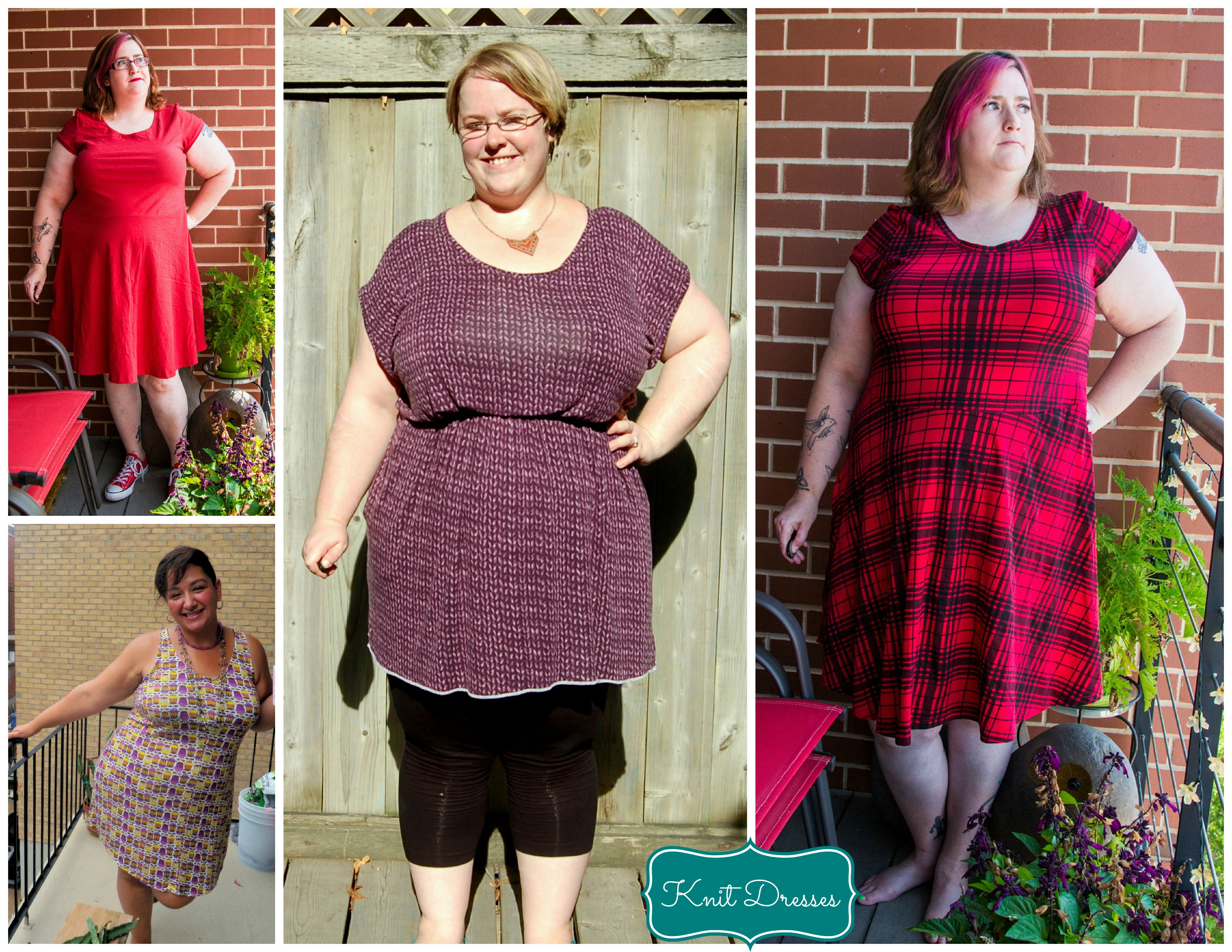 Clockwise from top left: Kitschy Coo Lady Skater by Sew All The Things;  Butterick 6210 by Sew Pretty in Pink; Kitschy Coo Lady Skater by Sew All  The Things; ...